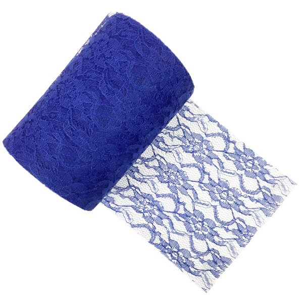 Lace Fabric Roll 6in Royal Blue