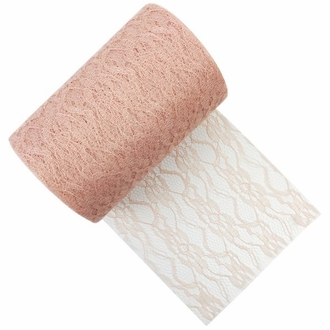 Lace Fabric Roll 6in Salmon