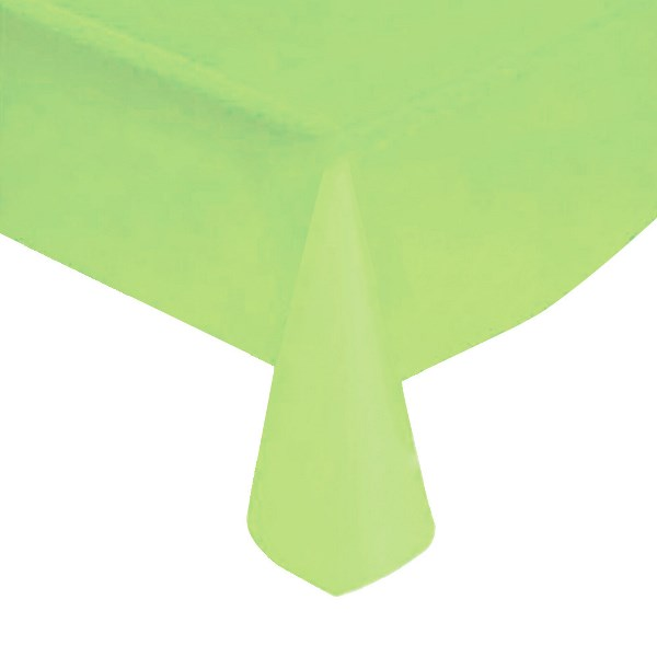"Lime Green Solid Plastic Tablecloth 54"" X 108"""