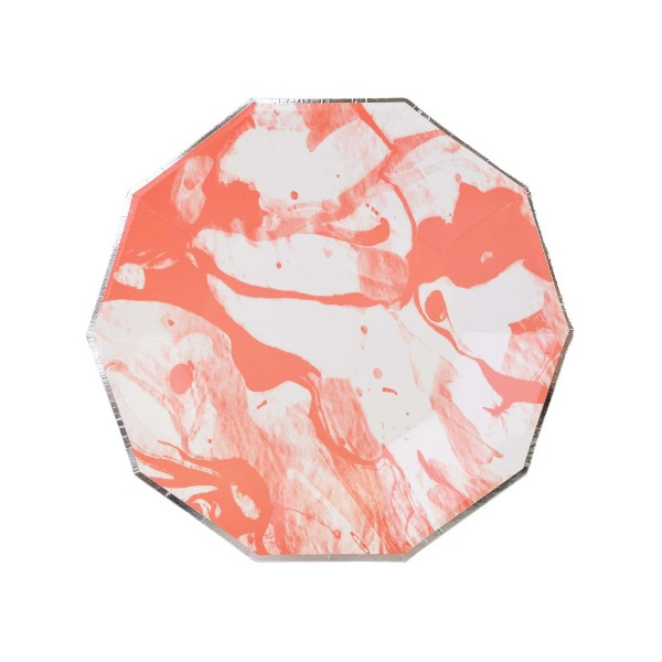 Marble Coral Silver Decagon Dessert Paper Plate 7in 8pcs