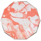Marble Coral Silver Decagon Paper Plate 9in 8pcs
