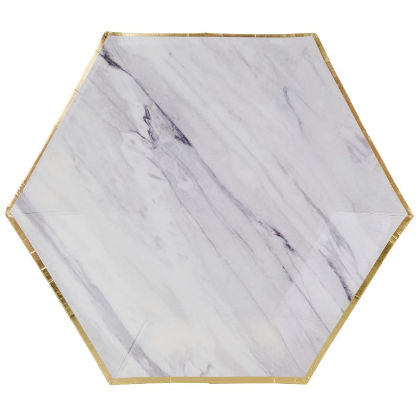 Marble Gold Hexagon Paper Plate Paper Plate 8in 8pcs
