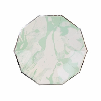 Marble Mint Silver Decagon Dessert Paper Plate 7in 8pcs