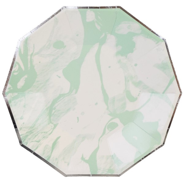 Marble Mint Silver Decagon Paper Plate 9in 8pcs