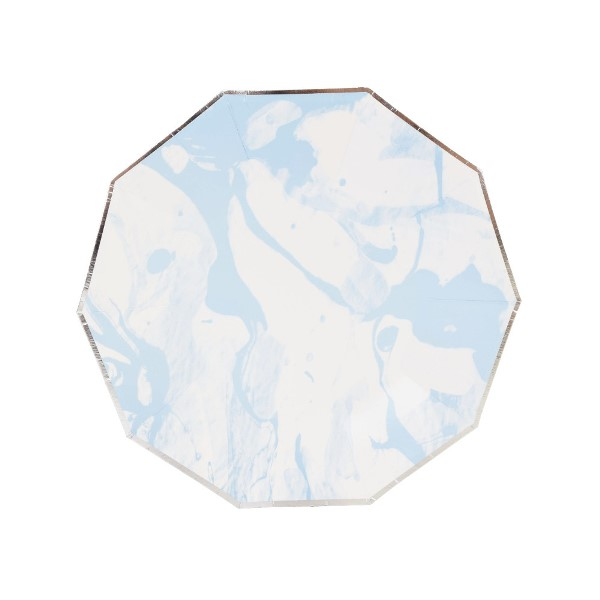 Marble Sky Blue Silver Decagon Dessert Paper Plate 7in 8pcs