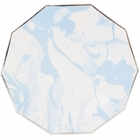 Marble Sky Blue Silver Decagon Paper Plate 9in 8pcs