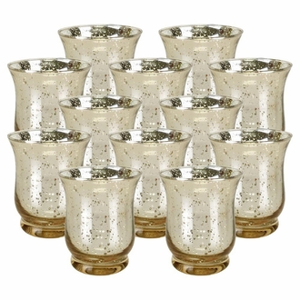 "Mercury Glass Hurricane�Votive�Candle Holder 3.5""H�(12pcs,�Speckled Gold)"