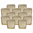 "Mercury Glass Square Votive�Candle Holder 2.25""H�(12pcs,�Speckled Gold)"