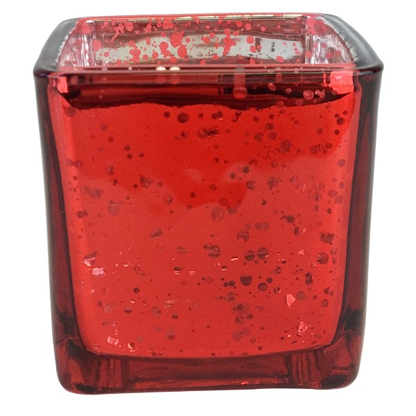 """Mercury Glass Votive Candle Holder  2.25"""" H Speckled Red (Square)"""