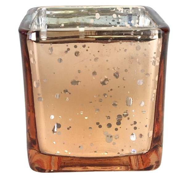 "Mercury Glass Votive Candle Holder  2.25"" H Speckled Rose Gold (Square)"