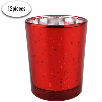 "Mercury Glass Votive Candle Holder 2.75""H (12, Speckled Red)"