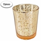 "Mercury Glass Votive Candle Holder 2.75""H (12pcs, Speckled Gold)"