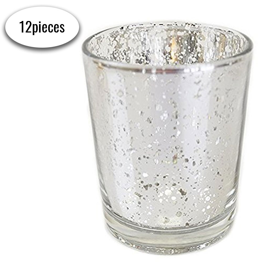 "Mercury Glass Votive Candle Holder 2.75""H (12pcs, Speckled Silver)"