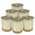 "Mercury Glass Votive Candle Holder 2.75""H (6pcs, Speckled Gold)"