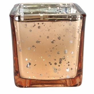 "Mercury Glass Votive Candle Holder 2"" Speckled Rose Gold (Square)"