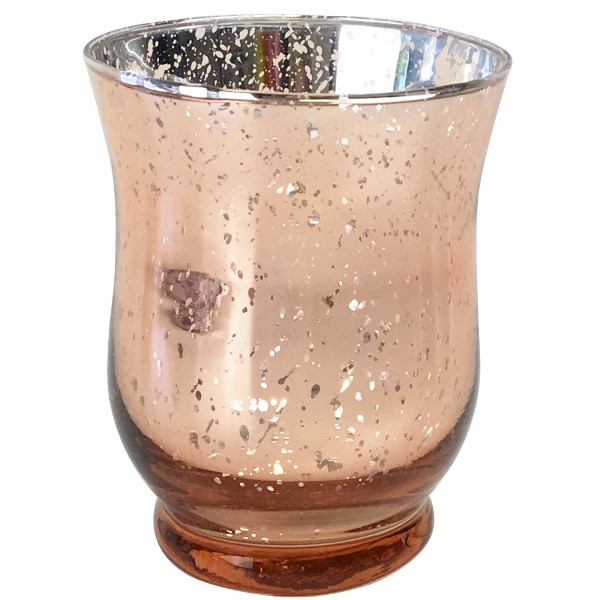 Mercury Glass Votive Candle Holder 35 H Speckled Rose Gold Hurricane