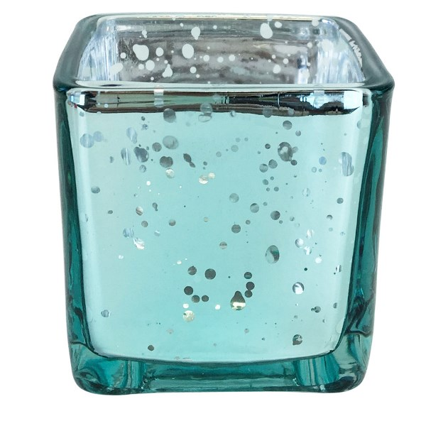"Mercury Glass Votive Candle Holder 3"" H Speckled Aqua (Square)"