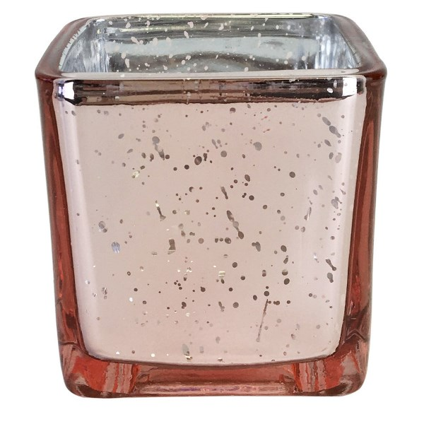 "Mercury Glass Votive Candle Holder 3"" H Speckled Blush (Square)"