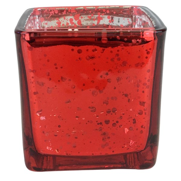 """Mercury Glass Votive Candle Holder 3"""" H Speckled Red (Square)"""
