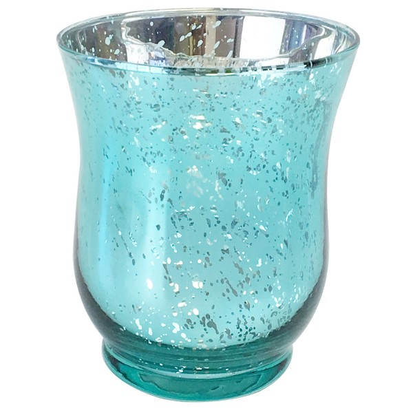 "Mercury Glass Votive Candle Holder 4.5"" H Speckled Aqua (Hurricane)"