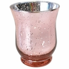 "Mercury Glass Votive Candle Holder 4.5"" H Speckled Blush (Hurricane)"