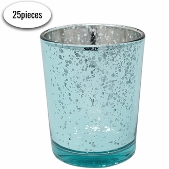 "Mercury Glass Votive Candle Holders 2.75""H Speckled Aqua Blue (Set of 12)"