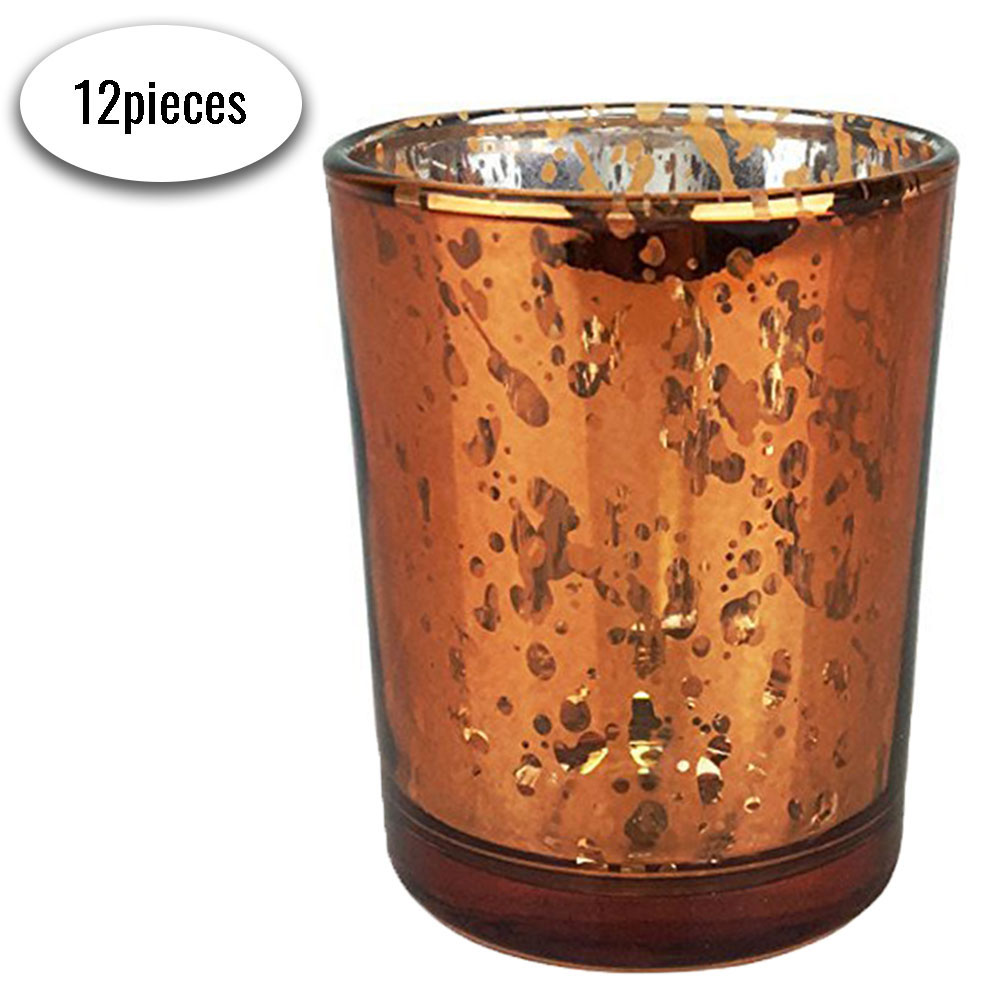 "Mercury Glass Votive Candle Holders 2.75""H Speckled Copper (Set of 12)"