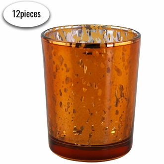 """Mercury Glass Votive Candle Holders 2.75""""H Speckled Copper (Set of 12)"""