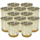 "Mercury Glass Votive Candle Holders 3""H Speckled Gold (Set of 12)"