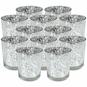 "Mercury Glass Votive Candle Holders 3""H Speckled Silver (Set of 12)"