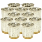 Mercury Glass Votive Candle Holders 4in Speckled Gold (Set of 12)