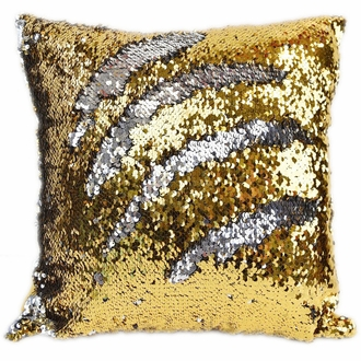 Mermaid Sequin Square Throw Pillow Cover 15in Gold and Silver