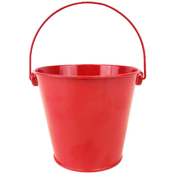 Metal Favor Bucket Pail 4in Cherry Red