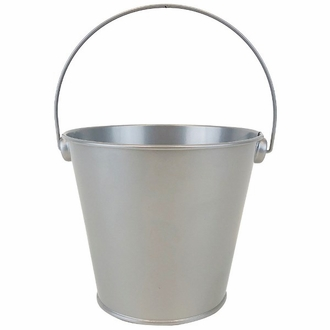 Metal Favor Bucket Pail 4in Grey