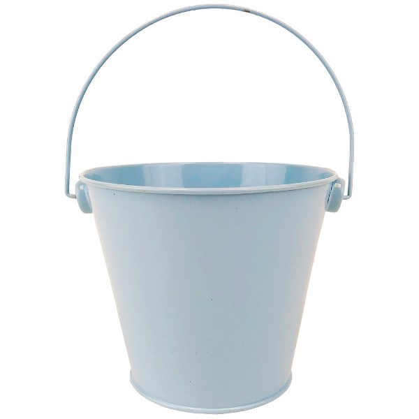 Metal Favor Bucket Pail 4in Light Blue