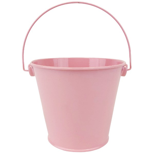 Metal Favor Bucket Pail 4in Light Pink