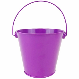 Metal Favor Bucket Pail 4in Plum