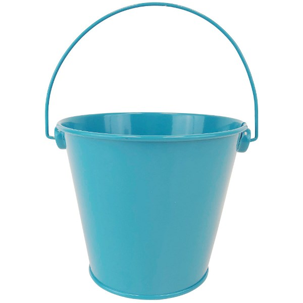 Metal Favor Bucket Pail 4in Teal
