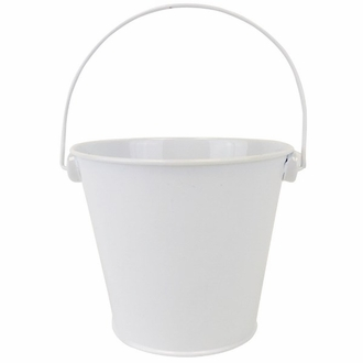 Metal Favor Bucket Pail 4in White