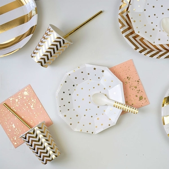 Metallic Gold Stars Decagon Dessert Paper Plate 7in 8pcs