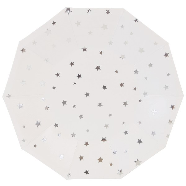Metallic Silver Stars Decagon Dessert Paper Plate 7in 8pcs