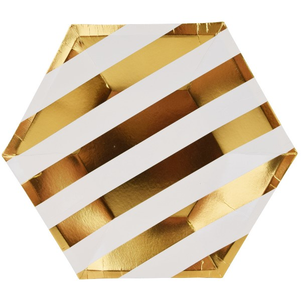 Metallic Striped Gold Hexagon Paper Plate 9in 8pcs