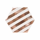 Metallic Striped Rose Gold Hexagon Dessert Paper Plate 7in 8pcs