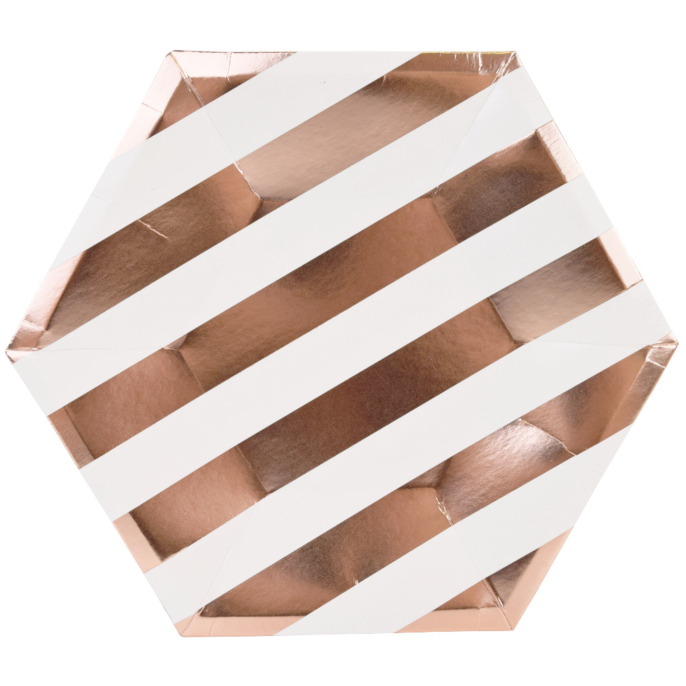 Metallic Striped Rose Gold Hexagon Paper Plate 9in 8pcs