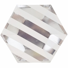 Metallic Striped Silver Hexagon Paper Plate 9in 8pcs