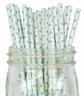 Mini Polka Dot Paper Straws 25pcs White with Light Blue Dots