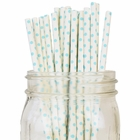Mini Polka Dot Paper Straws 25pcs White with Aqua
