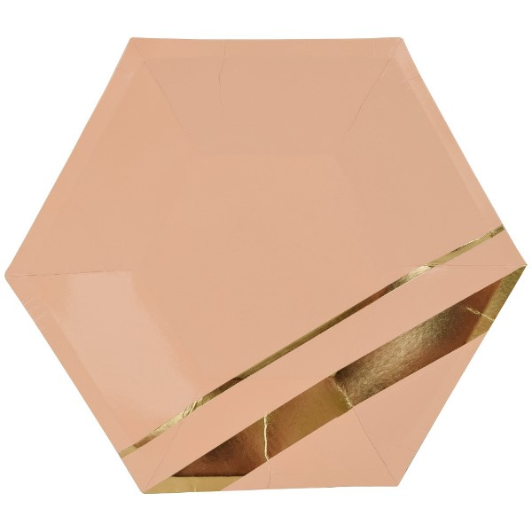 Modern Metallic Peach Gold Hexagon Paper Plate 9in 8pcs