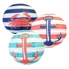 Nautical 12inch Paper Lantern Set 3pcs