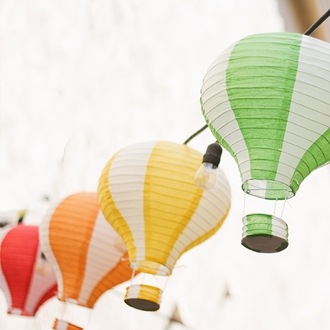 Orange and White Hot Air Balloon Paper Lantern 12in